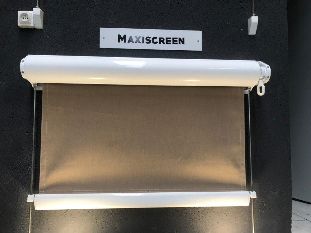 Store vertical à guides - showroom Ici Store - version coffre et conducteurs inox